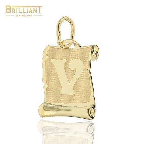 Zlatý prívesok Au585/000 14k písmeno V