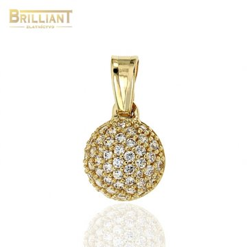 Zlatý prívesok Au585/000 14k polgulička s kameňmi