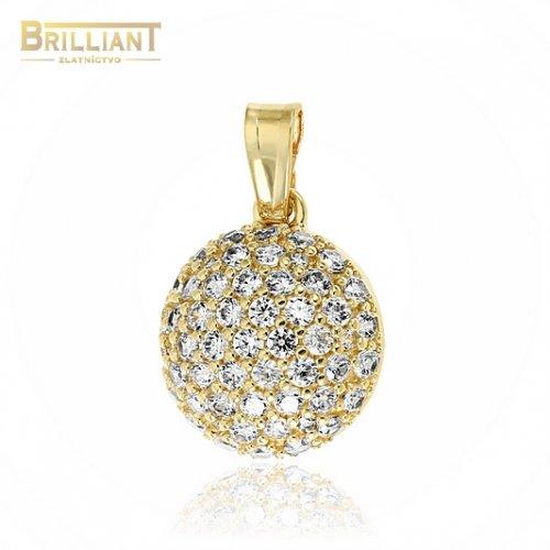 Zlatý prívesok Au585/000 14k polgulička so zirkónmi