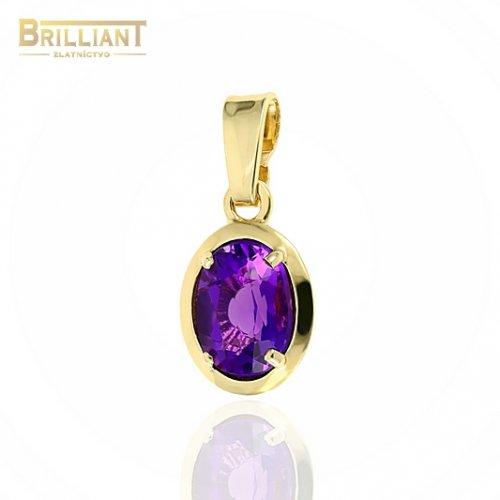 Zlatý prívesok Au585/000 14k s fialovým kameňom