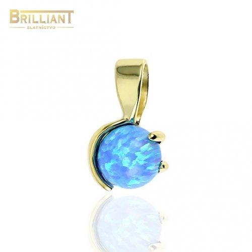 Zlatý prívesok Au585/000 14k s modrým opálom