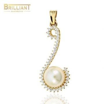 Zlatý prívesok Au585/000 14k s perlou a zirkónmi