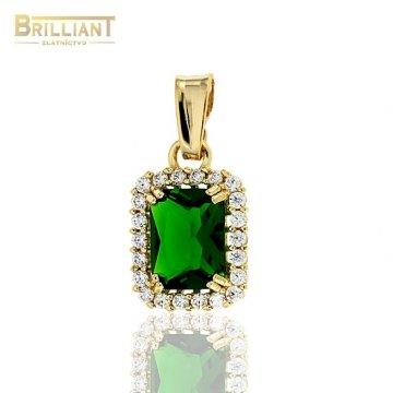 Zlatý prívesok Au585/000 14k so zeleným kameňom a zirkónmi