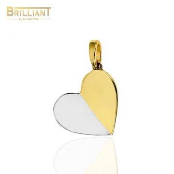 Zlatý prívesok Au585/000 14k srdiečko dvojfarebné