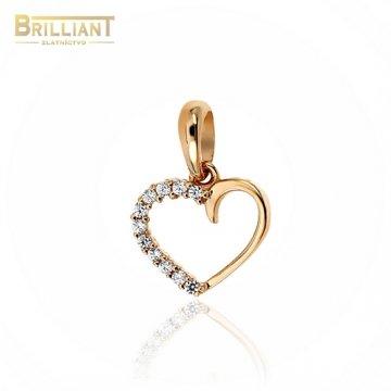 Zlatý prívesok Au585/000 14k srdiečko ružové zlato