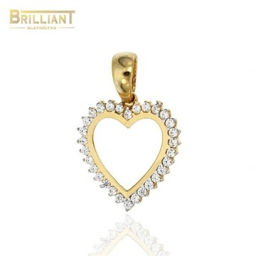 Zlatý prívesok Au585/000 14k srdiečko s kameňmi