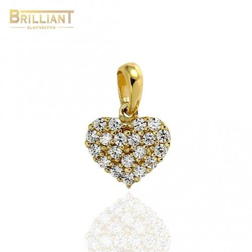 Zlatý prívesok Au585/000 14k srdiečko so zirkónmi