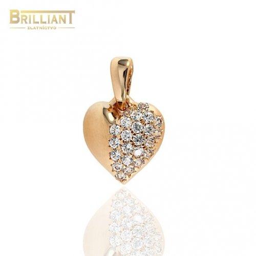 Zlatý prívesok Au585/000 14k srdiečko z ružového zlata s kam