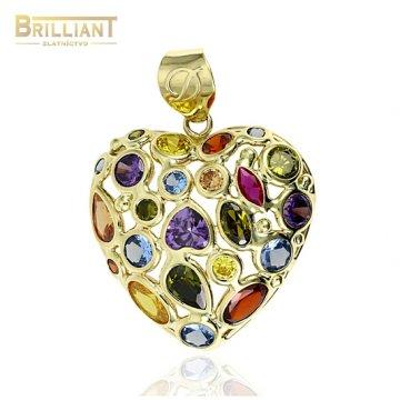 Zlatý prívesok Au585/000 14k srediečko s farebnými kameňmi