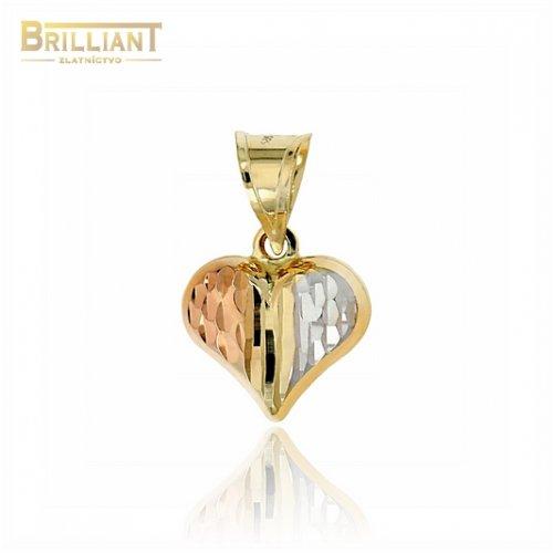 Zlatý prívesok Au585/000 14k trojfarebné srdiečko