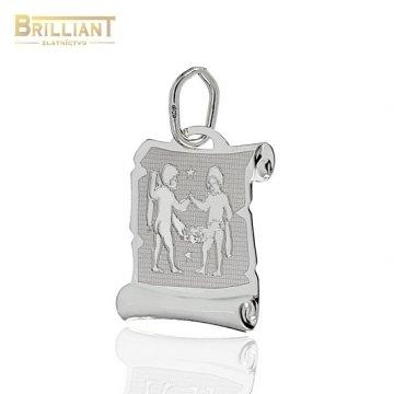 Zlatý prívesok Au585/000 14k Znamenie Blíženci biele zlato