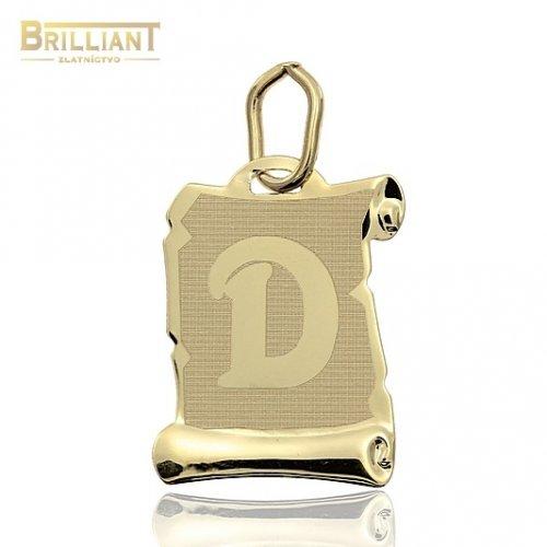 Zlatý Prívesok Au585/000 písmeno D