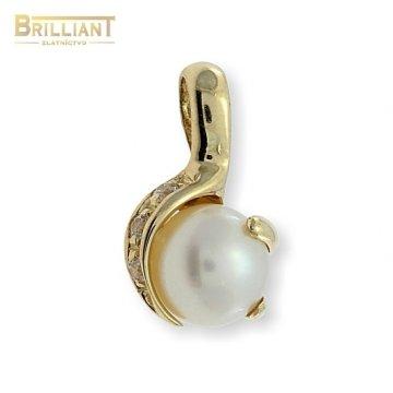 Zlatý Prívesok Au585/000 s perlou a zirkónmi