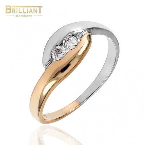 Zlatý prsteň Au585/000 14k biele a ružové zlato so zirkónmi