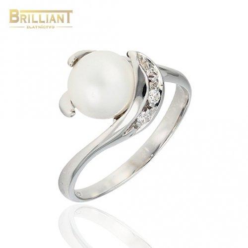Zlatý prsteň Au585/000 14k Biele zlato Perla a zirkóny