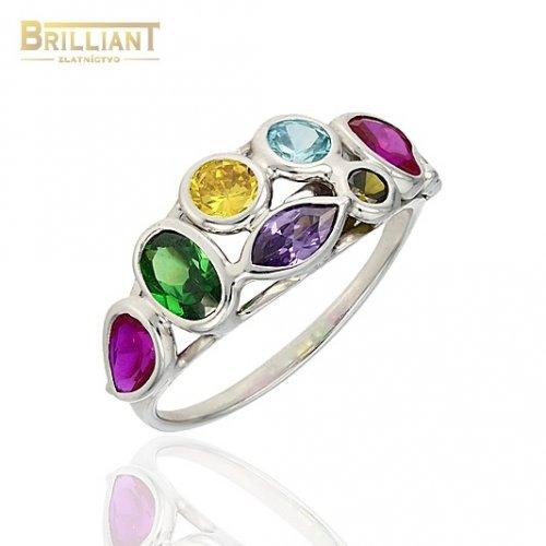 Zlatý prsteň Au585/000 14k biele zlato s farebnými kameňmi