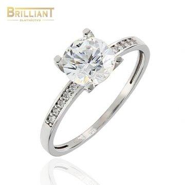Zlatý prsteň Au585/000 14k biele zlato s kameňmi