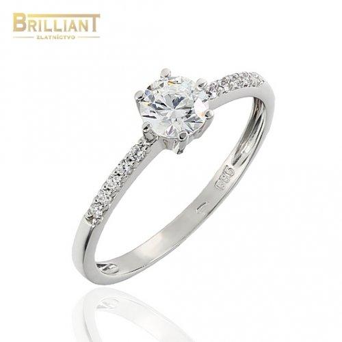 Zlatý prsteň Au585/000 14k biele zlato s kamienkami