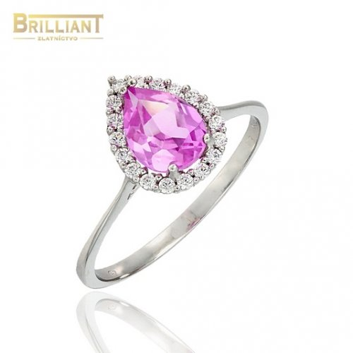 Zlatý prsteň Au585/000 14k biele zlato s ružovým kam. a zirk