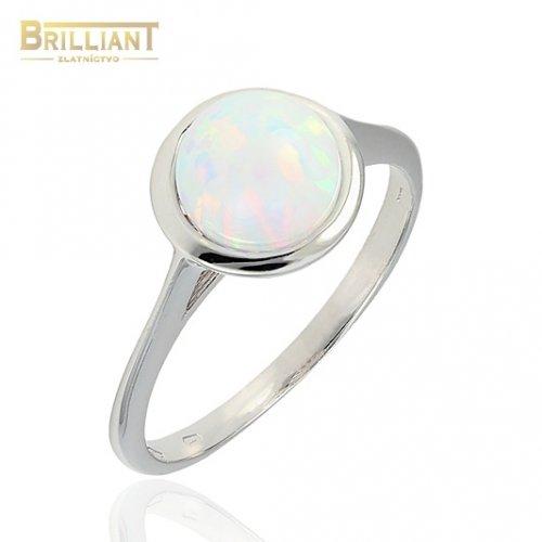Zlatý prsteň Au585/000 14k biele zlato so syntetickým opálom