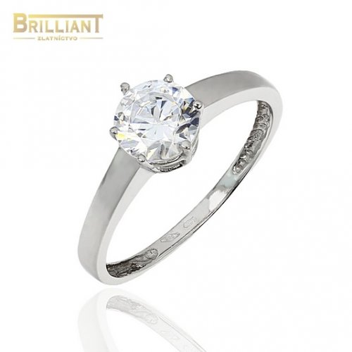Zlatý prsteň Au585/000 14k biele zlato so zirkónom