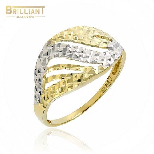 Zlatý prsteň Au585/000 14k garvírovaný kombinovaný