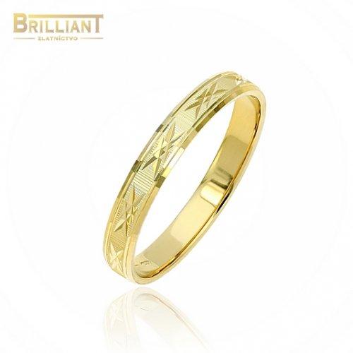 Zlatý prsteň Au585/000 14k gravírovaná obrúčka