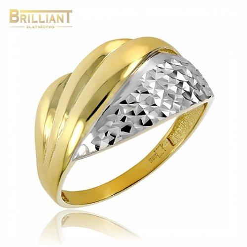 Zlatý prsteň Au585/000 14k gravírovaný kombinovaný