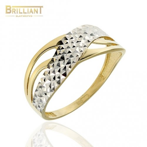 Zlatý prsteň Au585/000 14k kombinovaný, gravírovaný