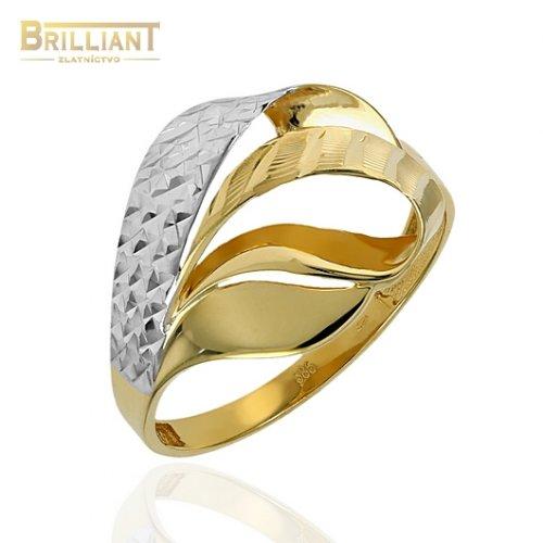 Zlatý prsteň Au585/000 14k kombinovaný