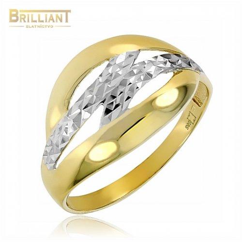 Zlatý prsteň Au585/000 14k kombinovaný gravírovaný