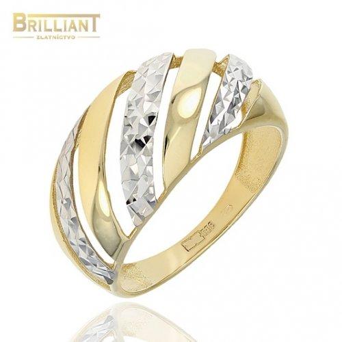 Zlatý prsteň Au585/000 14k kombinovaný s gravírom