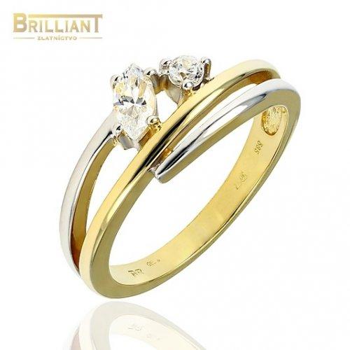Zlatý prsteň Au585/000 14k kombinovaný s kameňmi
