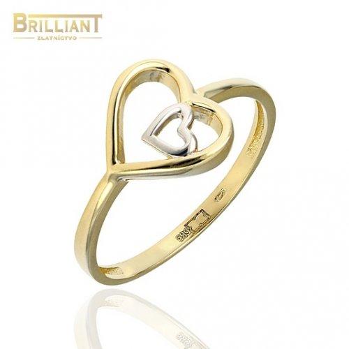 Zlatý prsteň Au585/000 14k kombinovaný srdiečka