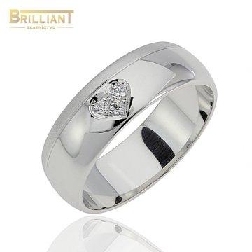 Zlatý prsteň Au585/000 14k Obrúčka Biele zlato so zirkónmi