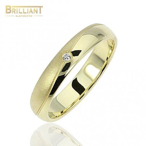 Zlatý prsteň Au585/000 14k Obrúčka s kamienkom