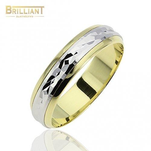 Zlatý prsteň Au585/000 14k Obrúčka žlto biela