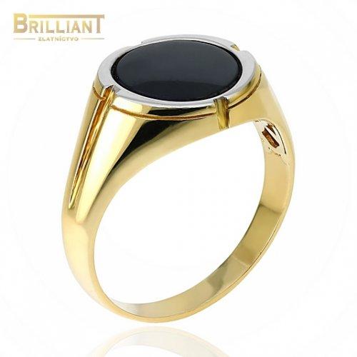Zlatý prsteň Au585/000 14k pánsky pečatný s čiernym kameňom