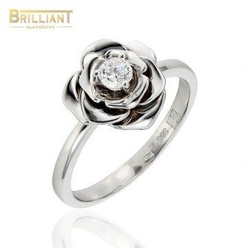 Zlatý prsteň Au585/000 14k ružička so zirkónom biele zlato