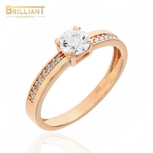 Zlatý prsteň Au585/000 14k ružové zlato s kameňmi