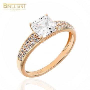 Zlatý prsteň Au585/000 14k ružové zlato s kamienkami