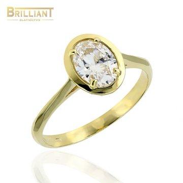 Zlatý prsteň Au585/000 14k s bielym kameňom