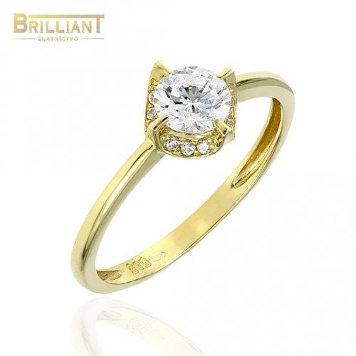 Zlatý prsteň Au585/000 14k s bielymi kameňmi