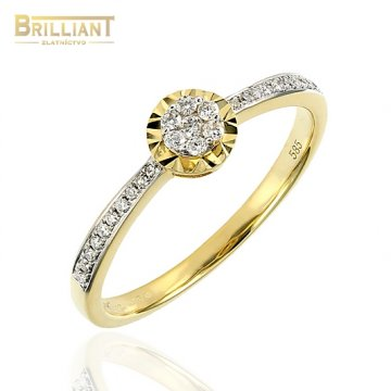 Zlatý prsteň Au585/000 14k s briliantami 27ks 0,17ct.
