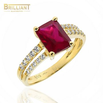 Zlatý prsteň Au585/000 14k s červeným kameňom a zirkónmi
