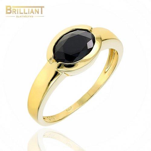 Zlatý prsteň Au585/000 14k s čiernym kameňom