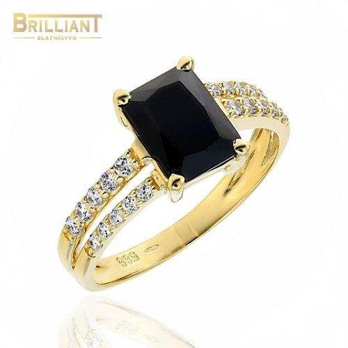 Zlatý prsteň Au585/000 14k s čiernym kameňom a zirkónmi