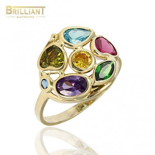Zlatý prsteň Au585/000 14k s farebnými kameňmi