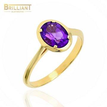 Zlatý prsteň Au585/000 14k s fialovým kameňom