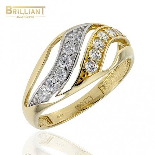 Zlatý prsteň Au585/000 14k s kameňmi